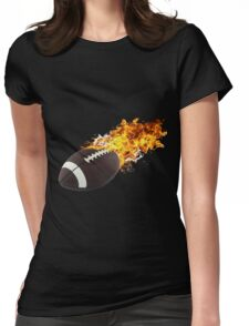 Flaming FootBall Womens Fitted T-Shirt