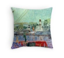 El bote rojo - The red boat Throw Pillow