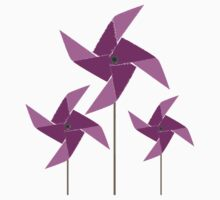 Whimsical Windmills Magenta Kids Tee