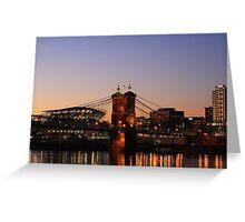 Cincinnati Stadium and Roebling Bridge Greeting Card