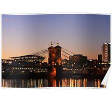Cincinnati Stadium and Roebling Bridge Poster