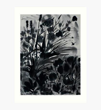 Urban Black-Sumi-e-Art Japanese ink Painting Art Print