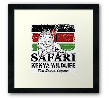 Kenya Lion Flag - Vintage Look Framed Print