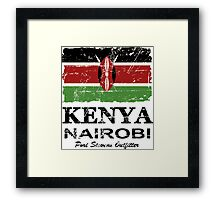 Kenya Flag - Vintage Look Framed Print