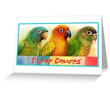 Sun blue-crowned green-cheeked conures realistic painting Greeting Card