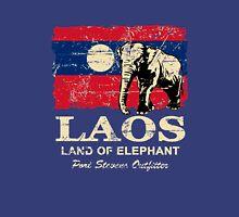 Laos Elephant Flag - Vintage Look Unisex T-Shirt