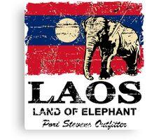 Laos Elephant Flag - Vintage Look Canvas Print