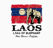 Laos Elephant Flag - Vintage Look Unisex T-Shirt