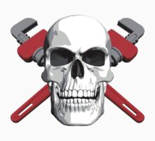 Plumber Skull and Wrenches Kids Tee