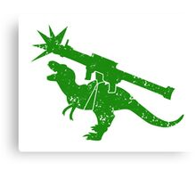 Cute green Tyrannosaurus TREX with a rocket launcher Canvas Print