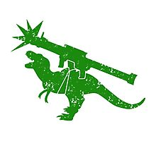 Cute green Tyrannosaurus TREX with a rocket launcher Photographic Print