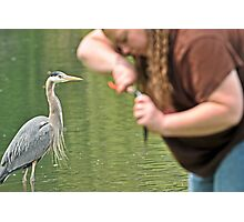Great Blue Heron and Great Big Fishing Lady Photographic Print
