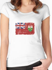 Ontario Flag - Vintage Look Women's Fitted Scoop T-Shirt