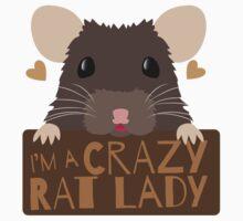 I'm a crazy Rat Lady more subtle cute rats face Kids Tee