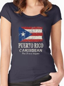 Puerto Rico Flag - Vintage Look Women's Fitted Scoop T-Shirt