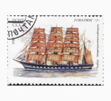 Sailing ships of the Soviet Union stamp series 1981 1981 Четырехмачтовый барк Товарищ USSR One Piece - Short Sleeve