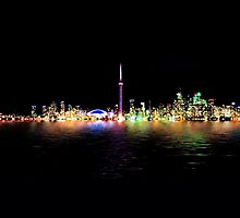 Toronto Skyline At Night From Centre Island Reflection by Brian Carson