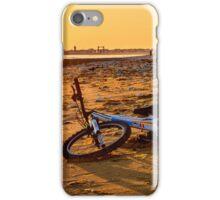 Bmx bike on beach at sunset iPhone Case/Skin