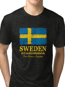 Sweden Flag - Vintage Look Tri-blend T-Shirt