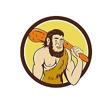 Neanderthal Man Holding Club Circle Cartoon Photographic Print