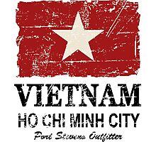 Vietnam Flag - Vintage Look Photographic Print