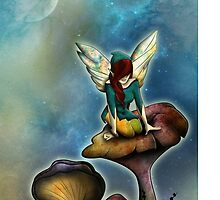 fairy on mushrooms by svariondesign