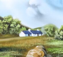 Blackrock cottage Scottish Highlands painting  Sticker
