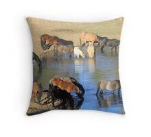 Wild Horses sharing a drink Throw Pillow