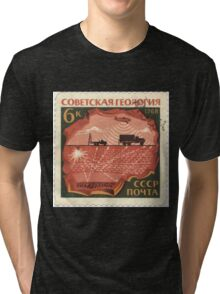 The Soviet Union 1968 CPA 3682 stamp Controlled Explosion at Reflection Seismology and Aeromagnetic Survey cancelled USSR Tri-blend T-Shirt