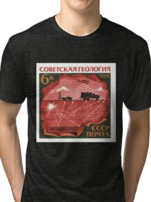 The Soviet Union 1968 CPA 3682 stamp Controlled Explosion at Reflection Seismology and Aeromagnetic Survey_png USSR Tri-blend T-Shirt