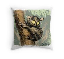 Tarsier in a tree Throw Pillow