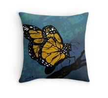 Monarch Butterfly on a Twig Throw Pillow