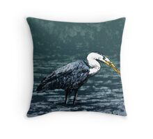 Blue Heron Wading Throw Pillow
