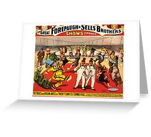 Poster 1890s Twenty funny feltcrowned fools poster for Forepaugh & Sells Brothers 1899 USSR Greeting Card