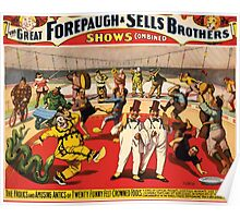 Poster 1890s Twenty funny feltcrowned fools poster for Forepaugh & Sells Brothers 1899 USSR Poster