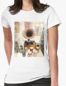 Retro Vintage Edison Cylinder Phonograph  Womens Fitted T-Shirt