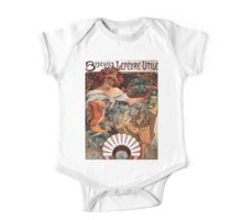 Poster 1890s Alfons Mucha 1896 Biscuits LefèvreUtile USSR One Piece - Short Sleeve