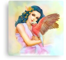 Blue haired elf and her galah Canvas Print