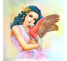 Blue haired elf and her galah Photographic Print