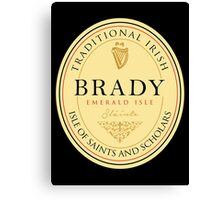 Irish Names Brady Canvas Print