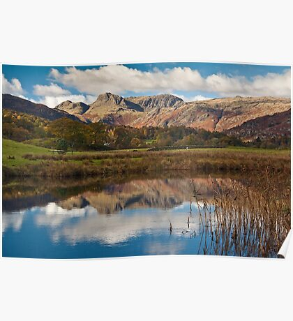 The Langdale peaks from the river Brathay Poster