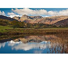 The Langdale peaks from the river Brathay Photographic Print