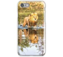 Lion in River with Reflection iPhone Case/Skin
