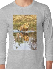 Lion in River with Reflection Long Sleeve T-Shirt