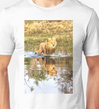 Lion in River with Reflection Unisex T-Shirt