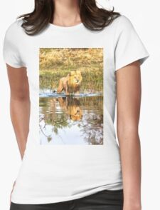 Lion in River with Reflection Womens Fitted T-Shirt