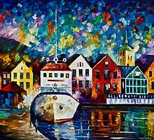AMSTERDAM - Original Art Oil Painting By Leonid Afremov by Leonid  Afremov