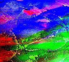 Brilliant Red, Blues and Greens - Collage by Angela Gannicott