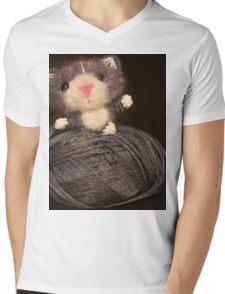Fuzzy Cat Mens V-Neck T-Shirt
