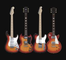 Four Sunburst Guitars by bradyarnold